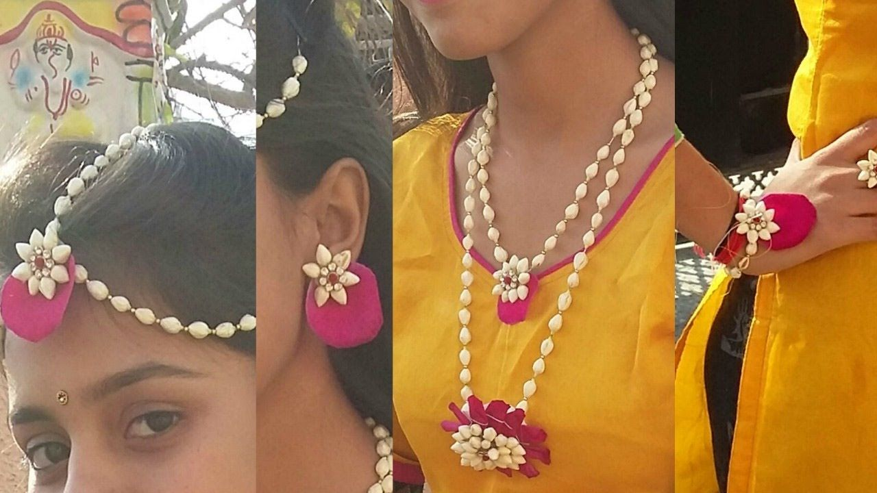 How To Make Real Flower Jewelry For Mehndi And Other Fucntions New 2017 Flower Jewellery For Haldi Real Flower Jewelry Flower Jewellery For Mehndi