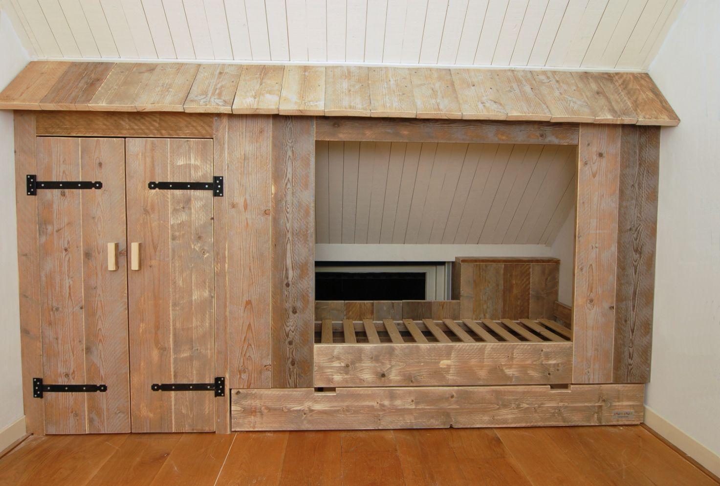 Deuren Voor Kinderkamers : Inbouwbedstee zonder deuren van gebruikt steigerhout kamer milan