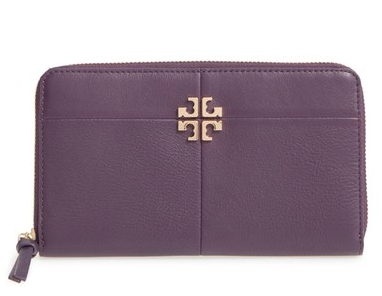 Women's Tory Burch Ivy Leather Continental Wallet - Purple