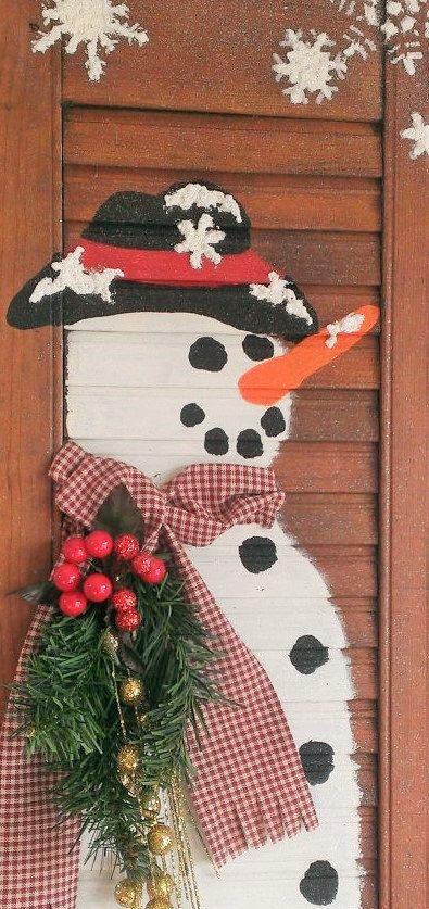 Holiday Decoration Holiday Wall Decor Christmas Decor Winter Decor Primitive Country Rustic Farmhouse Wood Shutter Snowman Wall Decor