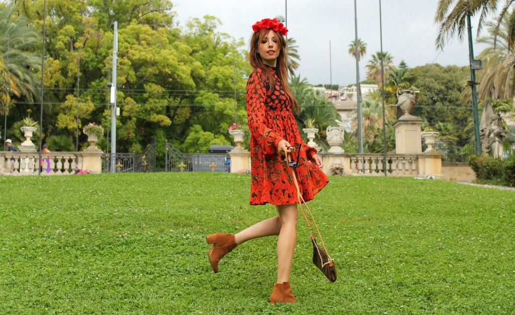 asos dress fashion editorial fashion outfit italian fashion blogger,red dress, louis vuitton pochette, flower crown, theladycracy.it