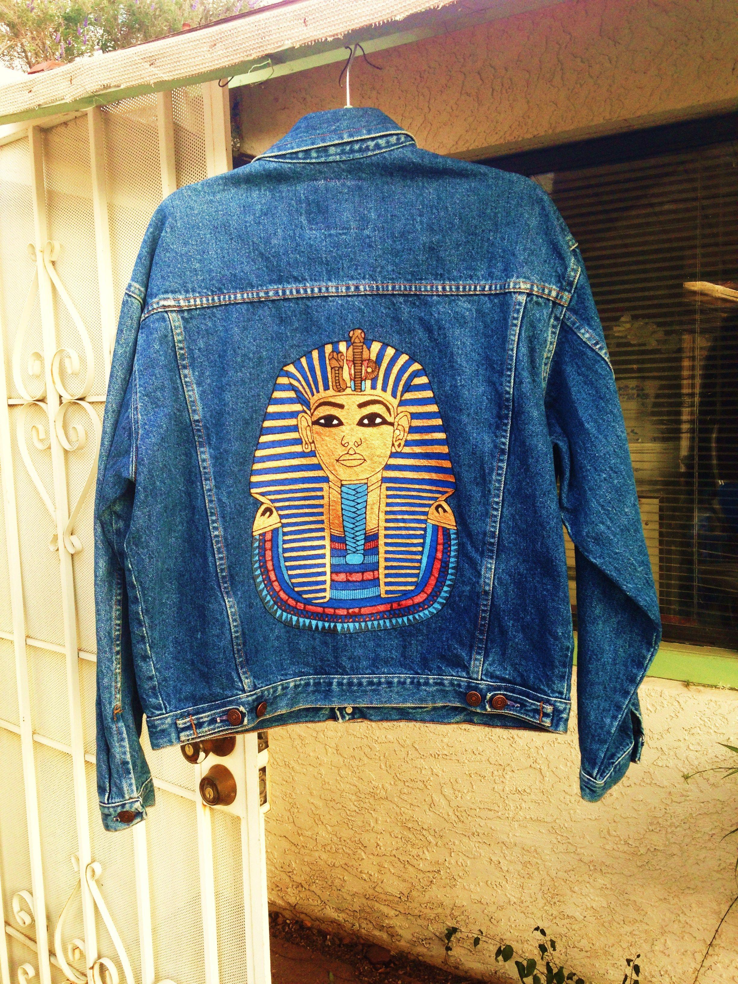 7dc43f29e King Tut custom painted on vintage denim jacket by @bleudoor on ...