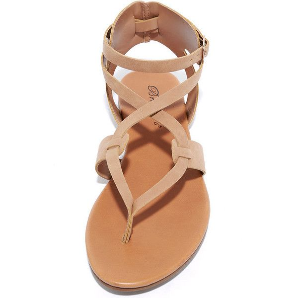 da1d4bb307 Boho Babe Natural Nubuck Thong Sandals ($19) ❤ liked on Polyvore featuring  shoes, sandals, nude strappy shoes, thong sandals, strappy sandals, strap  ...