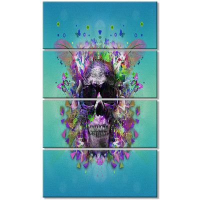 DesignArt 'Skull with Glasses and Butterflies' 4 Piece Graphic Art on Wrapped Canvas Set