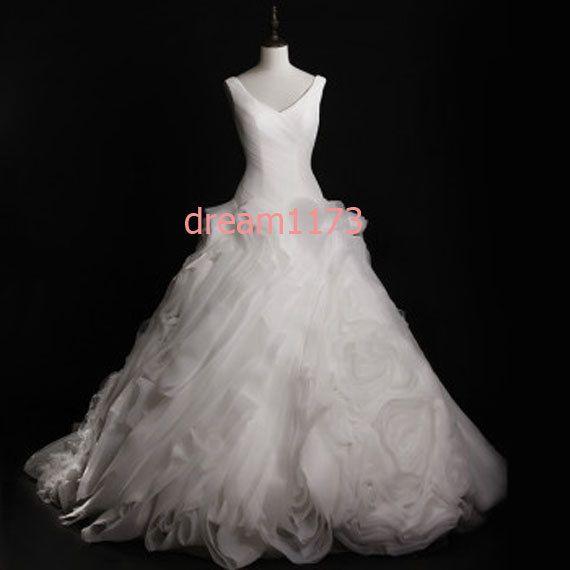2014 White Wedding Dress Organza Wedding Gown Aline by dream1173, $299.00