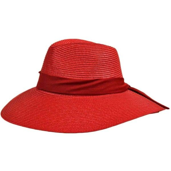 Red Structured Floppy Sun Hat With Satin Bow ( 19) ❤ liked on Polyvore  featuring e4af7261f70