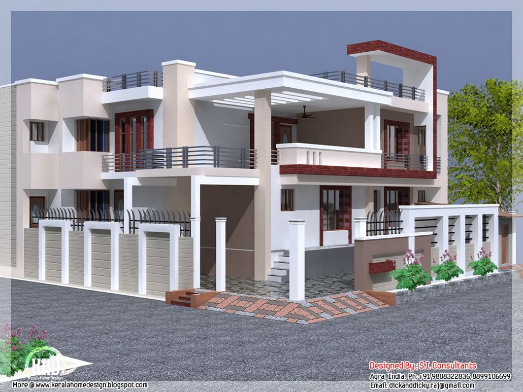 Inspiring best indian home exterior designindia house design with free floor plan kerala home for Home exterior design india