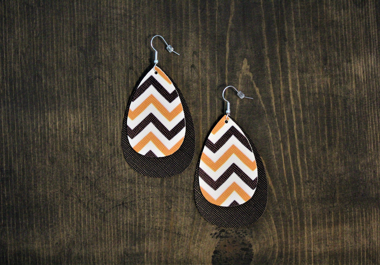 Faux Leather Earrings Orange And Black Chevron Earrings Seasonal Earrings Halloween Earrings Halloween Chevron Earrings
