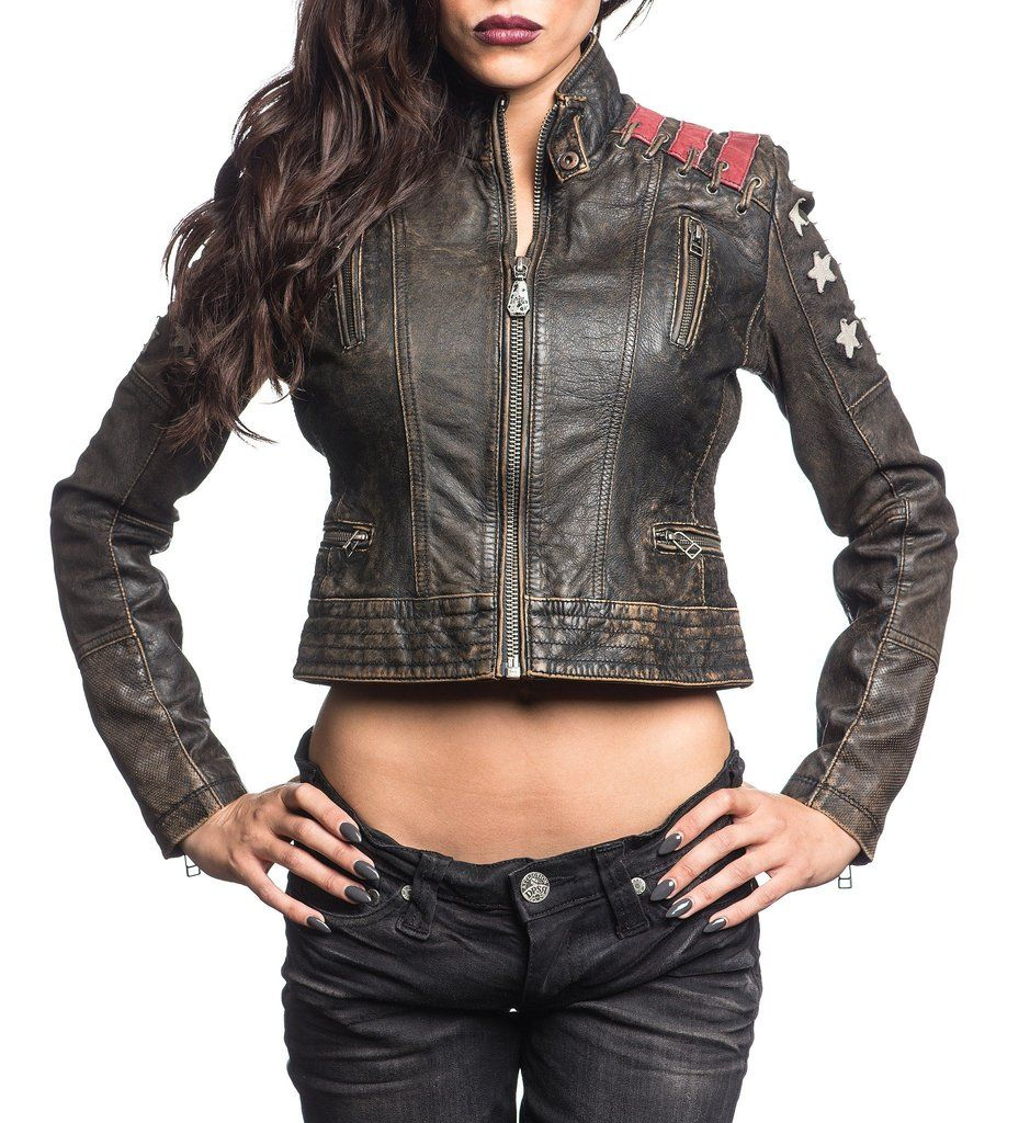 Affliction Cropped Genuine Leather Moto Jacket 600