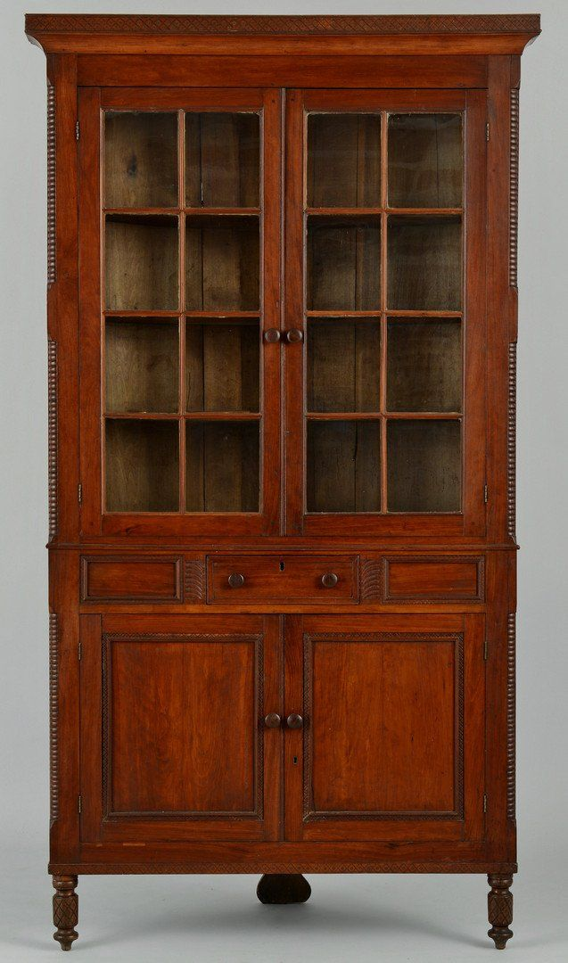 East Tennessee Corner Cupboard. Cherry with Tulip Poplar Secondary Wood and  Glass. McMinn County - East Tennessee Corner Cupboard. Cherry With Tulip Poplar Secondary