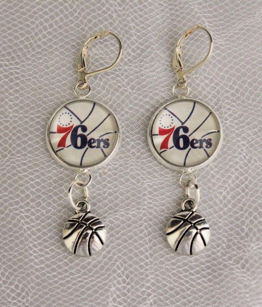 Philadelphia 76ers Earrings w/Basketball Charm Upcycled from Basketball Cards…