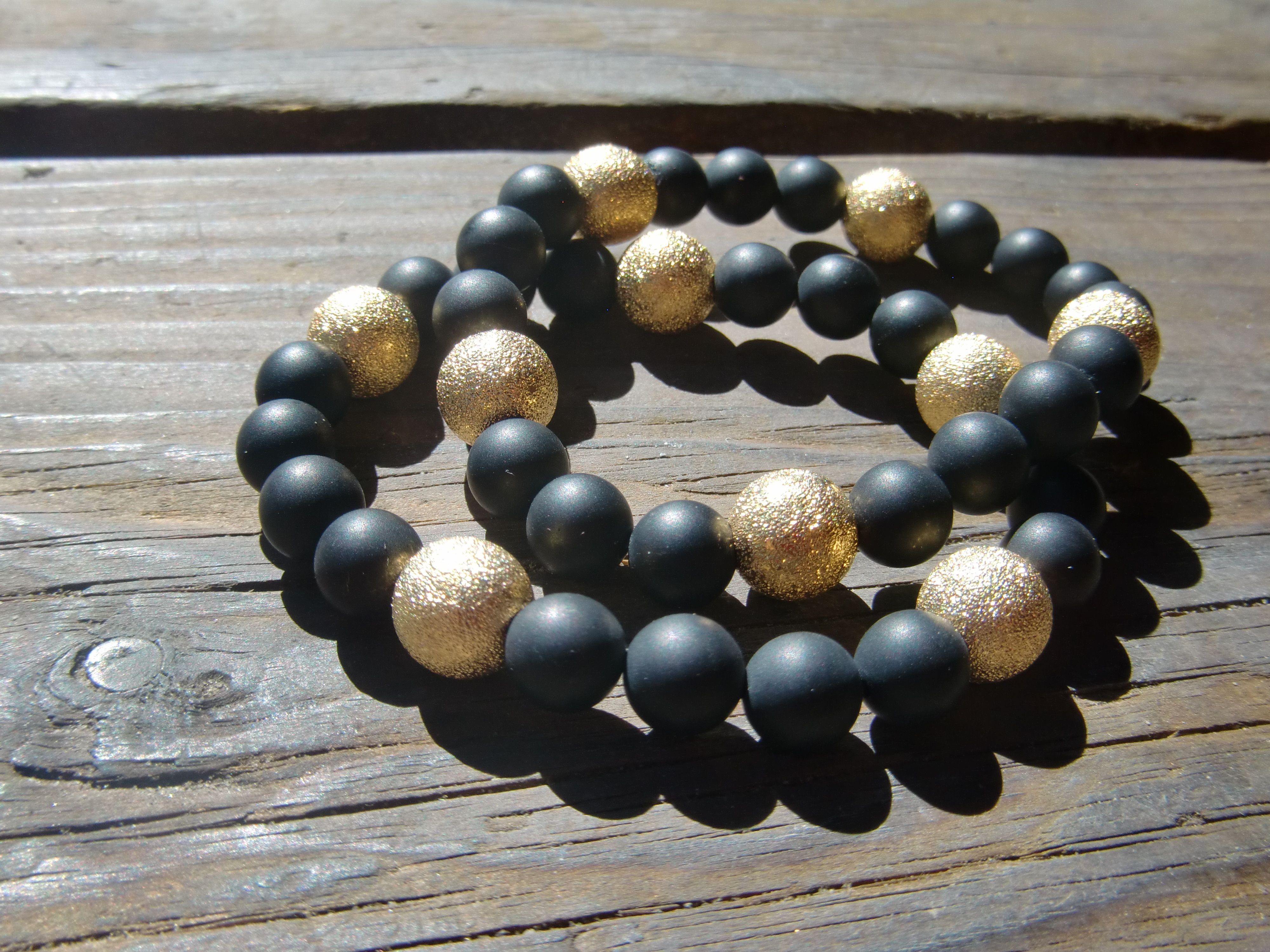 onyx beads with gold star dust
