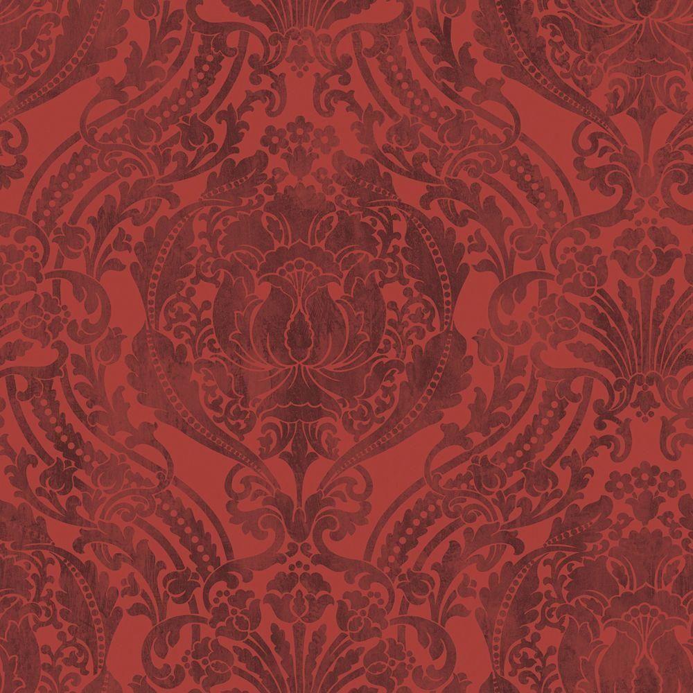 The Wallpaper Company 56 sq. ft. Red Grandiose Damask