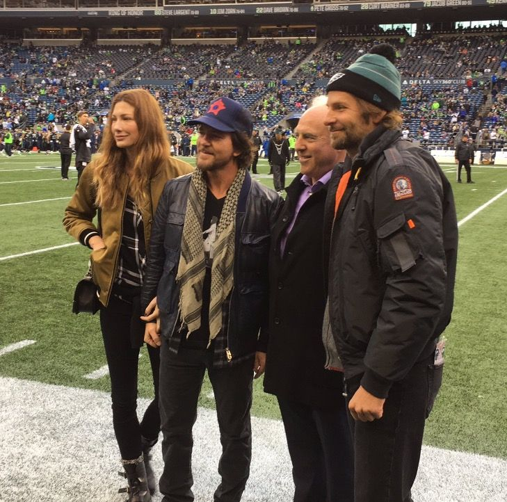 eddie and jill vedder with bradley cooper at the seattle