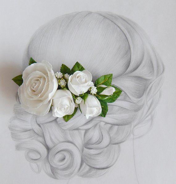 White Rose Flower Hair Piece Flower Hair Clip White Bridal Flower