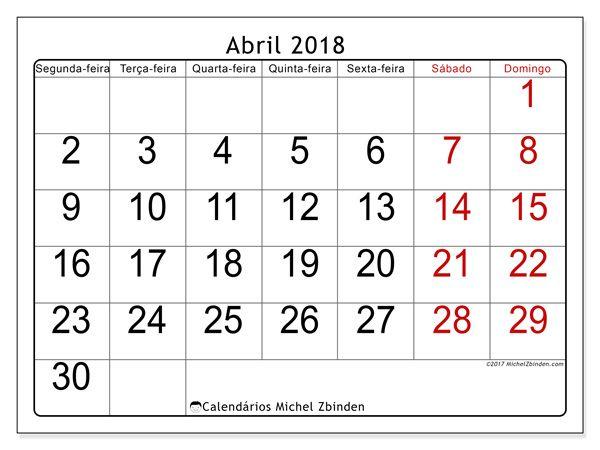 Calendário para imprimir abril 2018 - Emericus | imprimir ...
