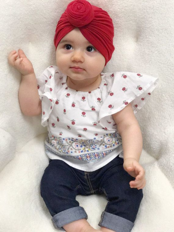 Top Knot Red Turban Hat Modern Baby Turban You Can Find