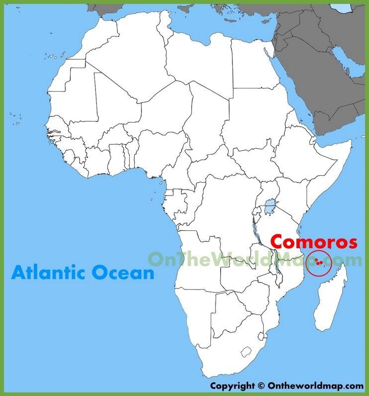 Africa Map Comoros Comoros location on the Africa map | Africa map, African map, Map
