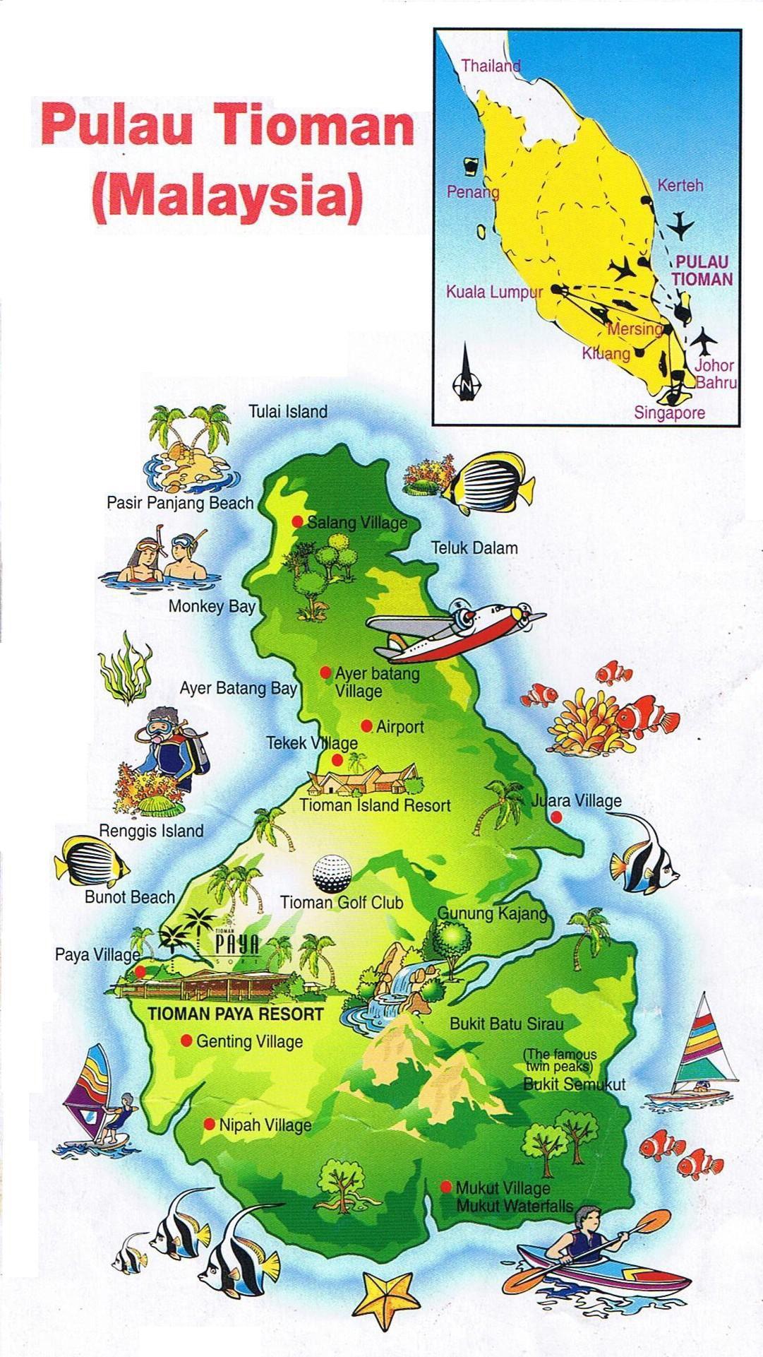 Map Tioman Island Click To Enlarge Malesia