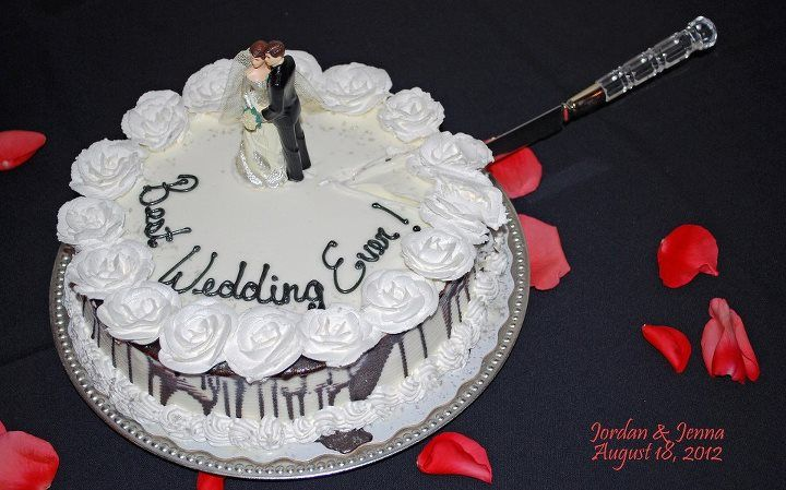 Our wedding cake it was from Dairy Queen and cost about