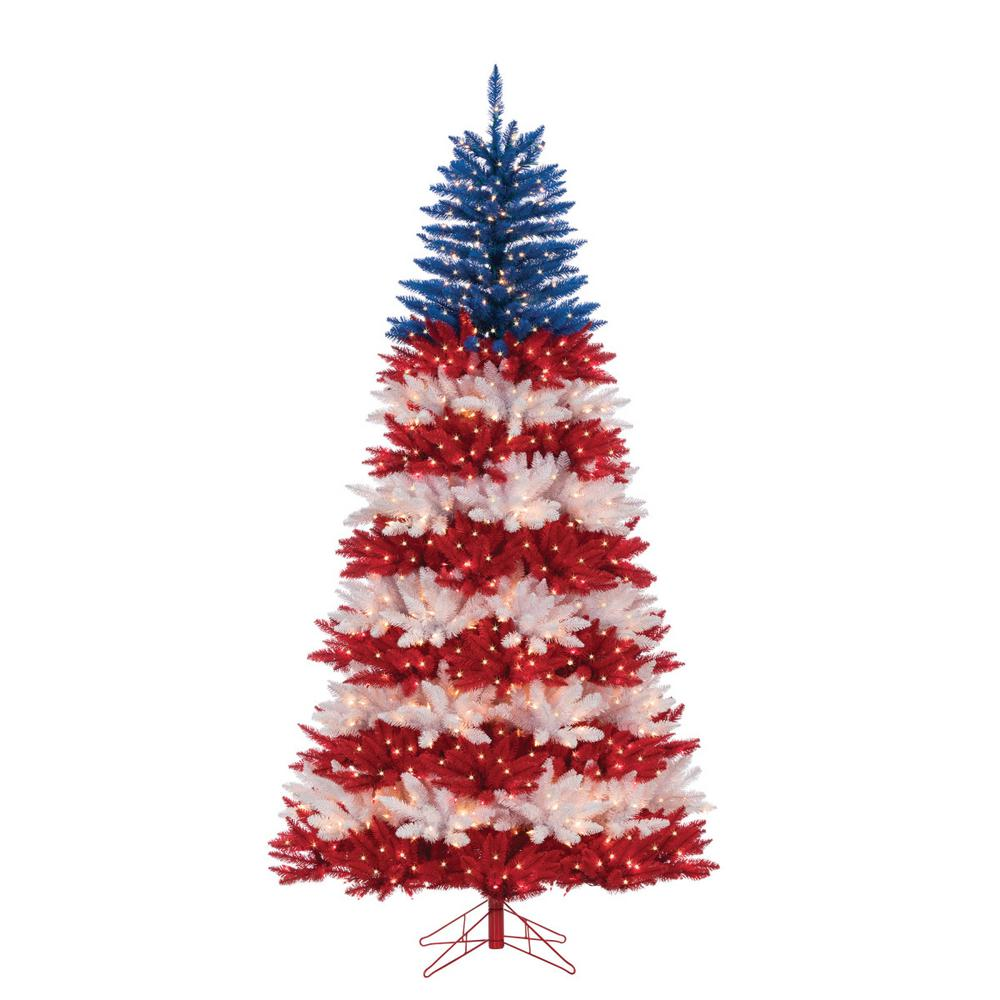 Sterling 7 5 Ft Patriotic America Artificial Christmas Tree In Red White And Blue With 1040 Patriotic Christmas Tree Patriotic Christmas Blue Christmas Tree