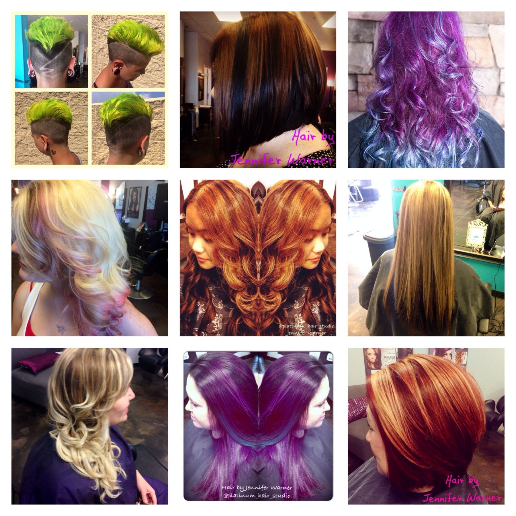 Hair Collage By Platinum Hair Studio Purple To Green Hair In Vivid