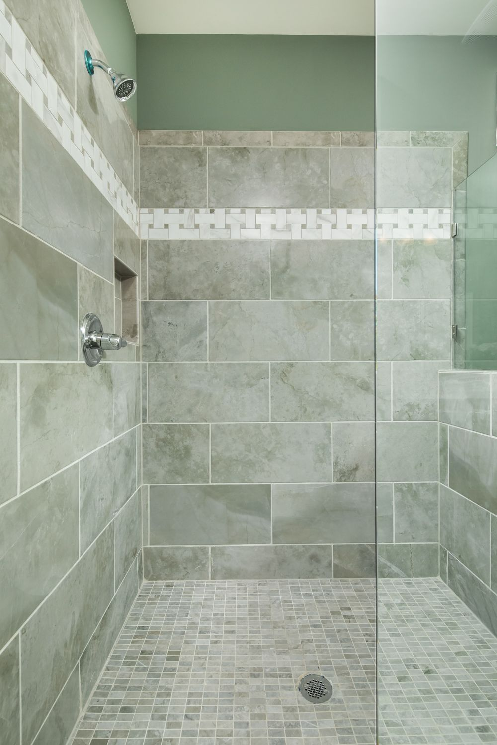 this shower had a 12 x 24 porcelain wall tile with a on wall tile id=26811