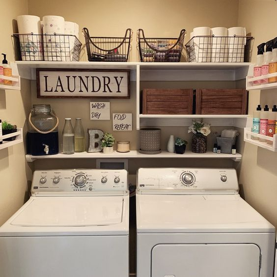 Laundry Room Closet Shelves Rustic Laundry Rooms Laundry Room
