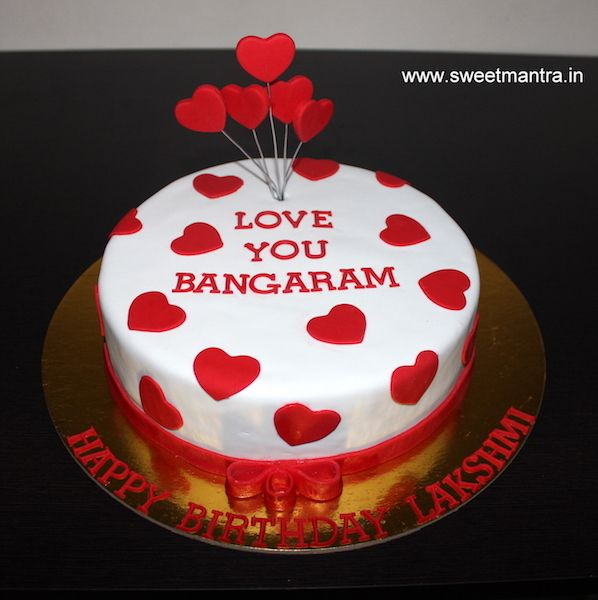 Valentine Anniversary Love Theme Small Customized Designer Birthday Cake With Hearts For Wife At Pune