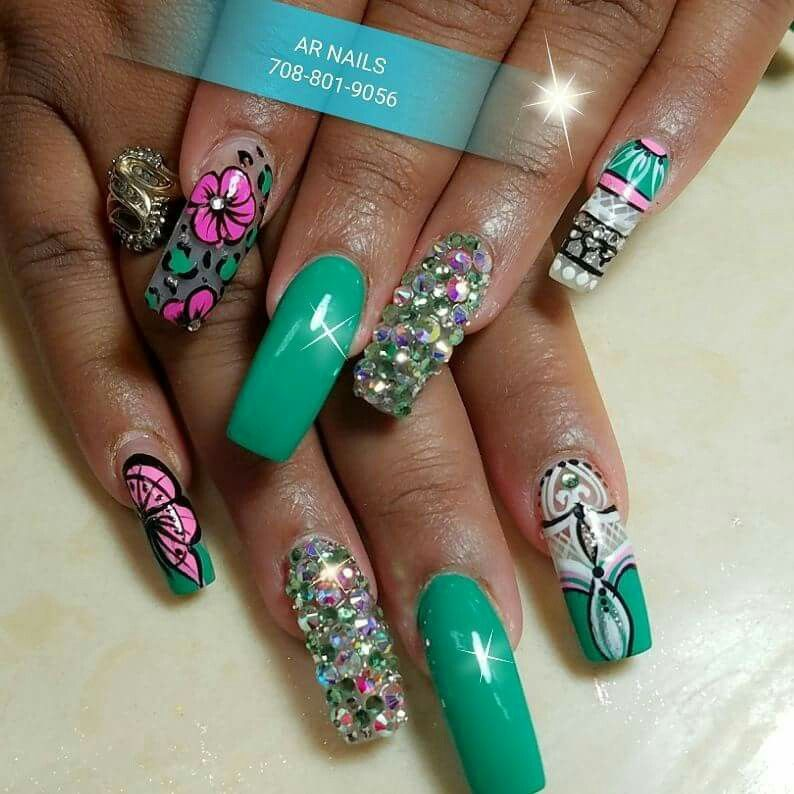 Free style designs with green gel color #fallnails #nails #nailart ...