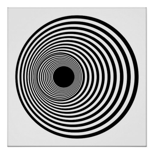 Op art horizontal circles black and white 01 print from zazzle