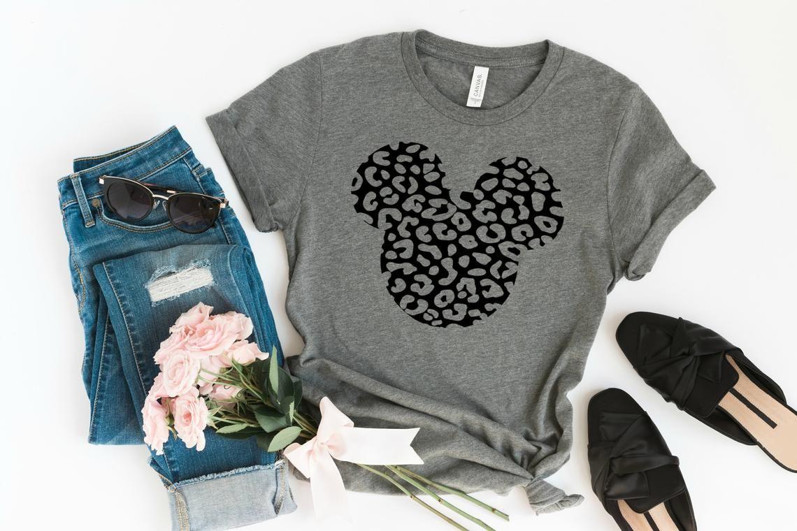 84cec7b2 Mickey Mouse Cheetah Print Graphic Tee Women's Disney | Etsy ...