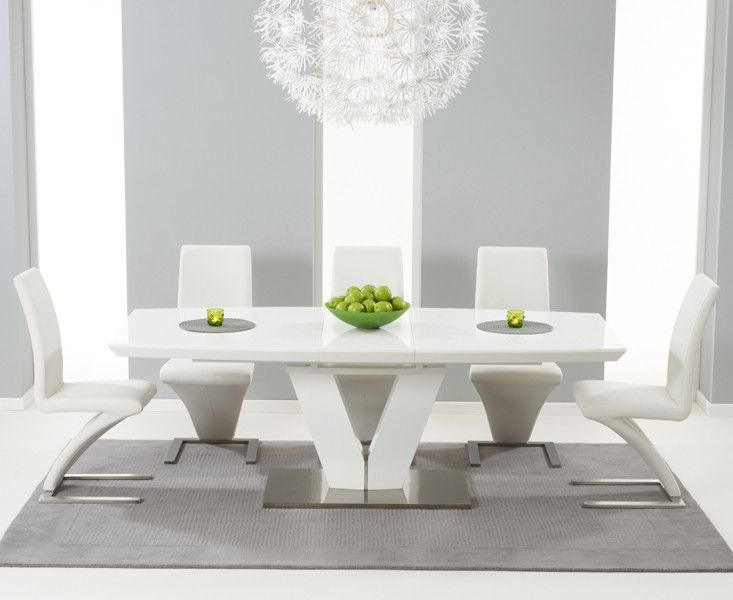 Buy The Malaga 180Cm White High Gloss Extending Dining Table With Enchanting High Gloss Dining Room Furniture Design Decoration