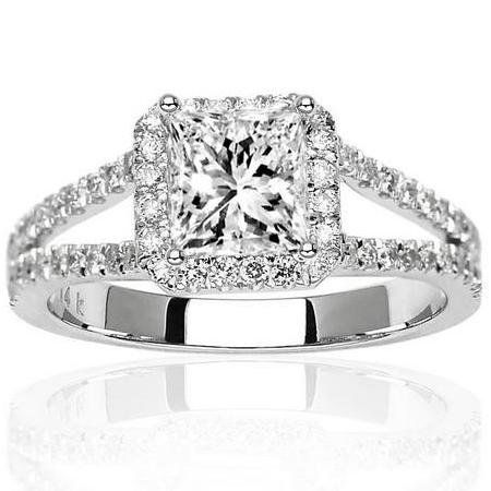 Carat Princess Cut Shape White Gold Halo Style Double Row Pave Set Designer Diamond Engagement Ring H I Color Clarity