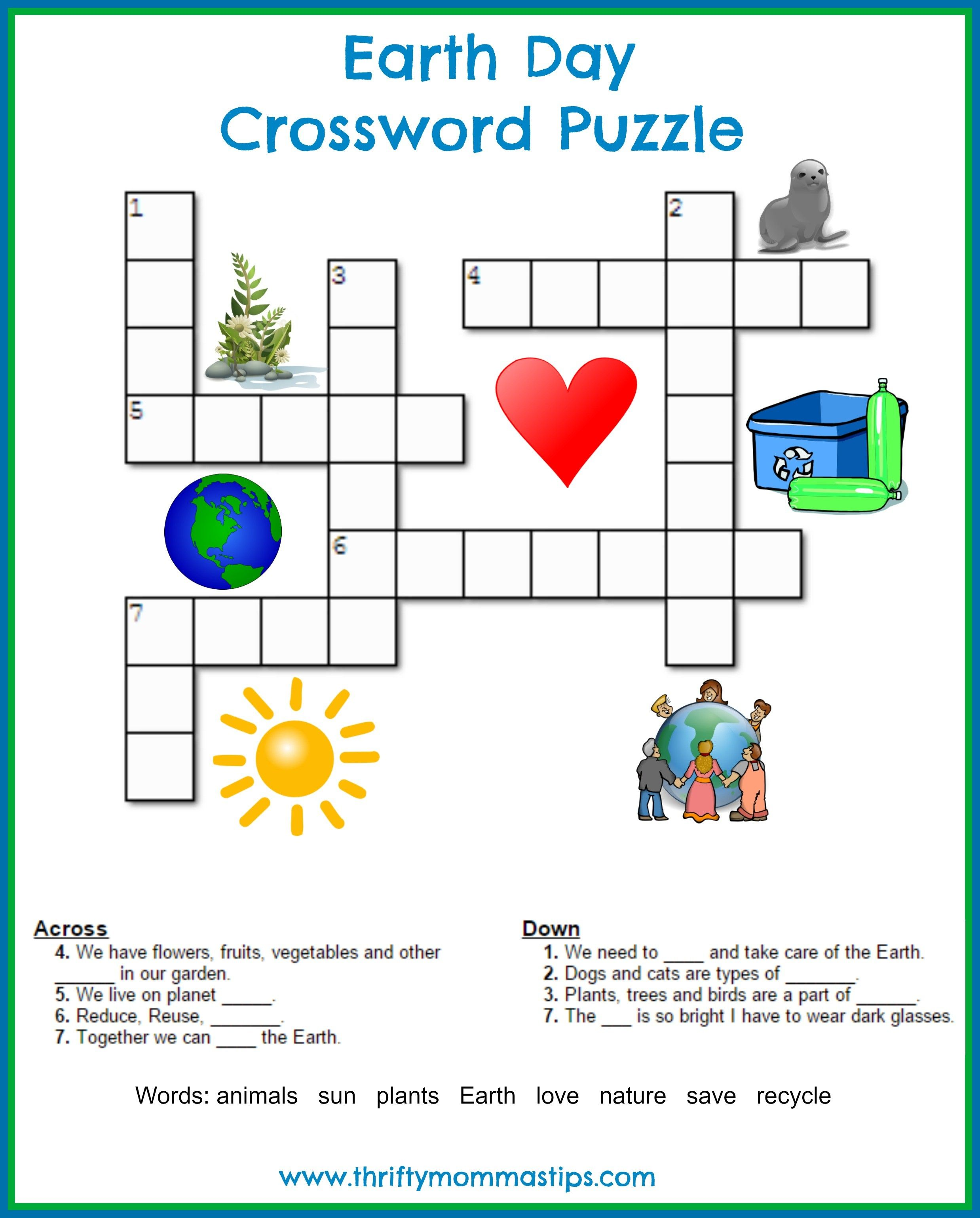 Earth Day Crossword Puzzle Environmental Science Earth