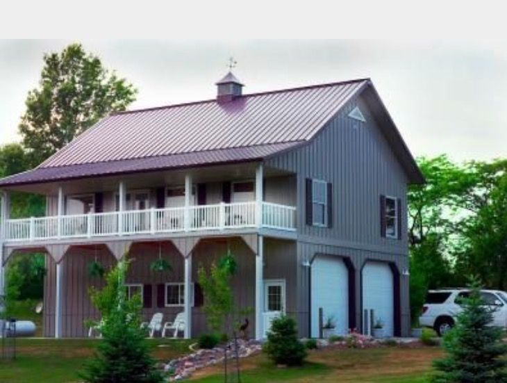 Pin by alisha reid miller on new garage pinterest barn for Two story metal building homes