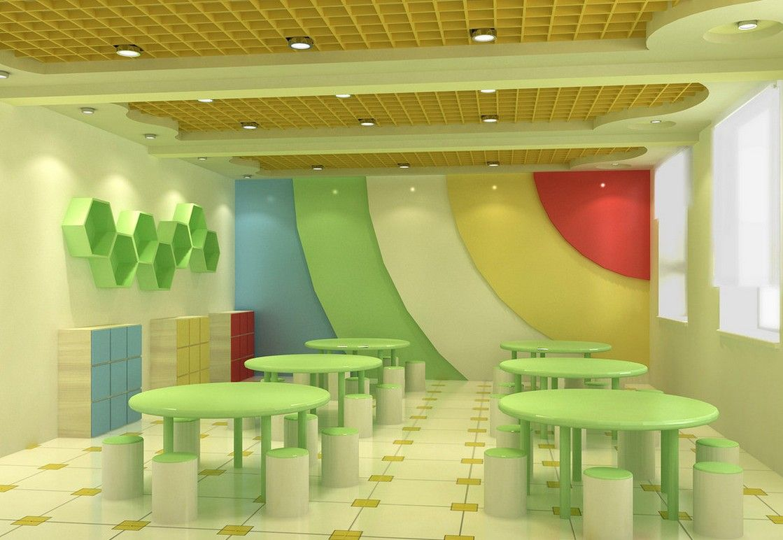 Kindergarten dining room interior design- Nice shade of green