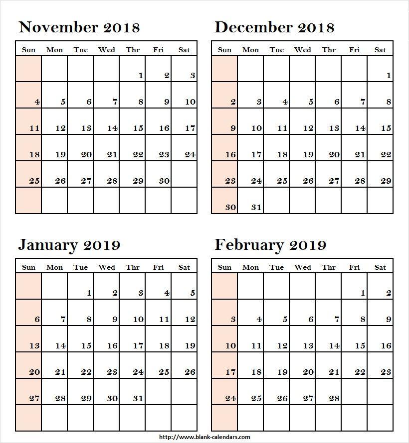 Printable Calendar November December 2018 January February 2019