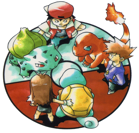Art by Ken Sugimori, depicting Red, Green, and Blue