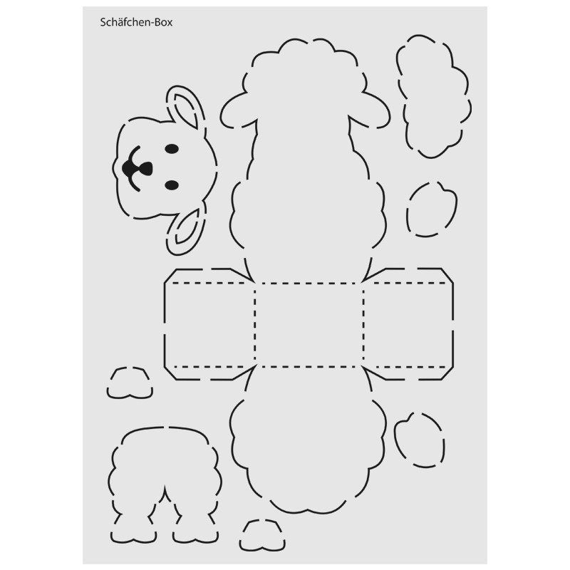 Design Schablone Nr 6 Schafchen Box Din A4 Schafe Basteln Schablonen Schachtel Basteln