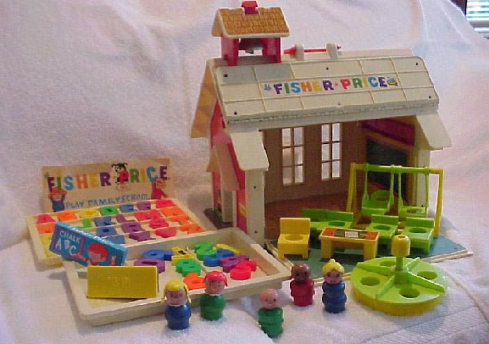 Fisher Price School...the bell turned our giant console TV off and on.