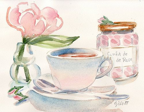 water colours, morning light and tea...
