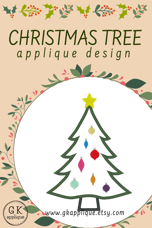 Christmas Tree Applique Design Xmas Machine Embroidery Pattern In 2020 Christmas Applique Designs Christmas Applique Machine Embroidery Patterns