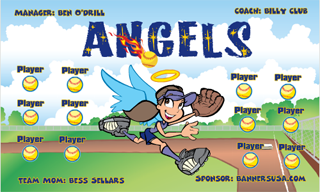 Angels digitally printed vinyl Softball sports team banner. Made in the USA and shipped fast by Banners USA. http://www.bannersusa.com/art/templates_2/digital/banners/DSB_banners.php
