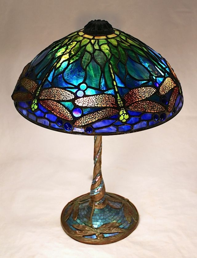 14 Dragonfly Tiffany Stained Glass Art Nouveau Lamps