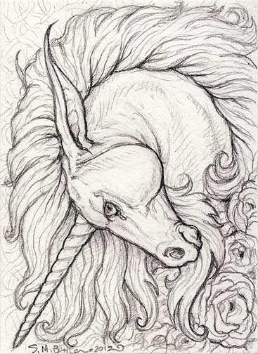 Aceo Unicorn By Synnabar On Deviantart Com Imagens Desenhos