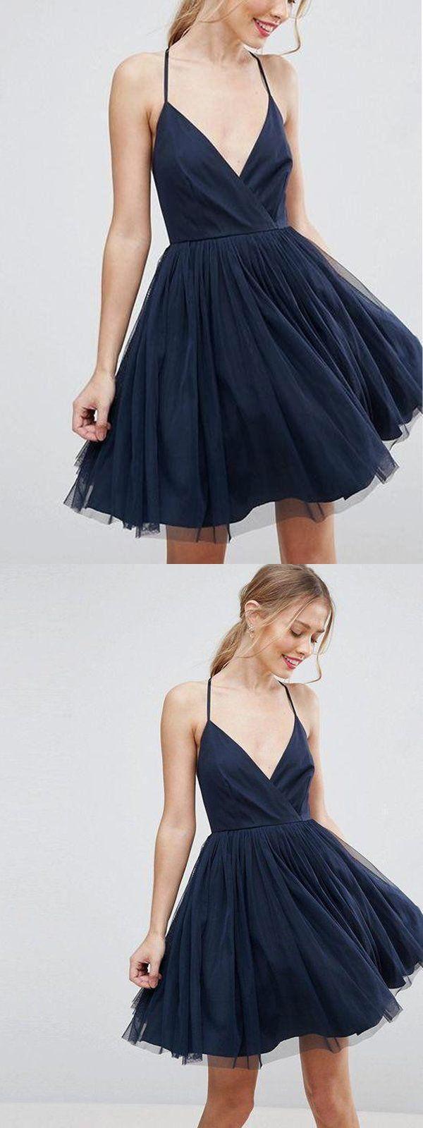 Spaghetti straps vneck navy blue homecoming dressescheap short