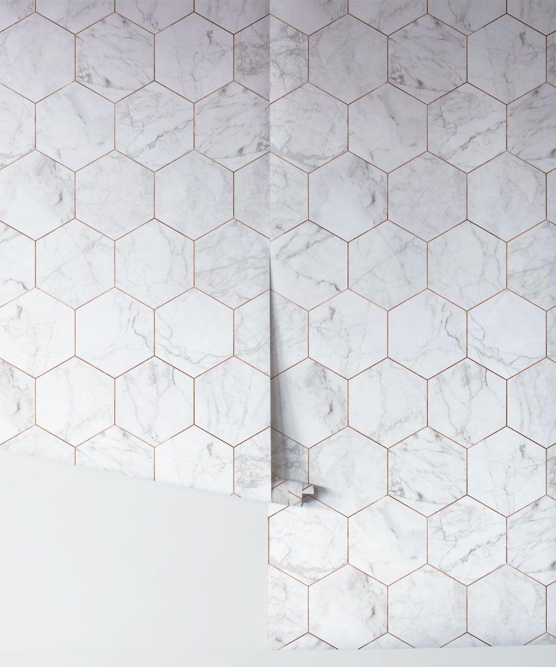 Marble Copper Tiles Wallpaper Crisp Marble Tiles Milton King In 2021 Copper Tiles Bathroom Wallpaper Tile Wallpaper