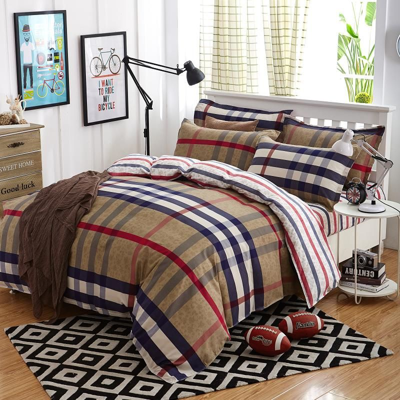 Summer Bedding Sets 4 Pcs Cover Fashion Bed Lattice Style Very Soft Good Quality King