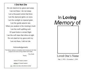 How to make a funeral memorial program template funeral how to make a funeral memorial program template pronofoot35fo Images